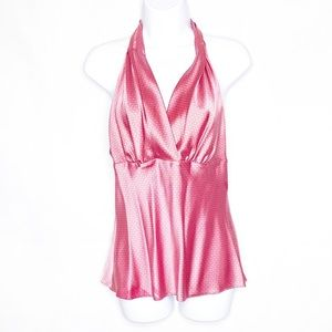 EXPRESS Pink Silk Halter Top M
